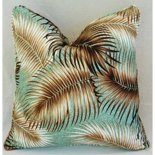Mid-Century Palm Leaves Barkcloth Pillows - Pair - Image 4 of 9