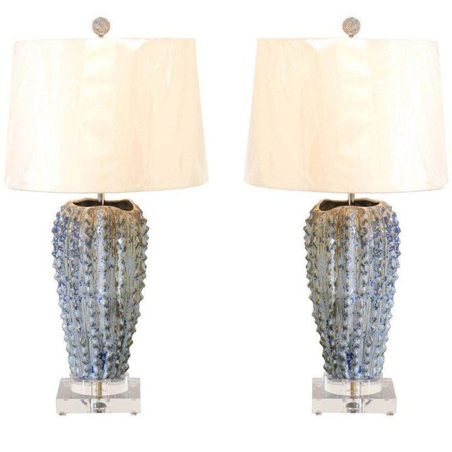 Fabulous Pair of Textured Portuguese Ceramic Vessels as Custom Lamps For Sale - Image 10 of 10