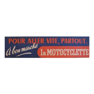 1938 French Vintage Bicycle Banner, Pour aller plus vite