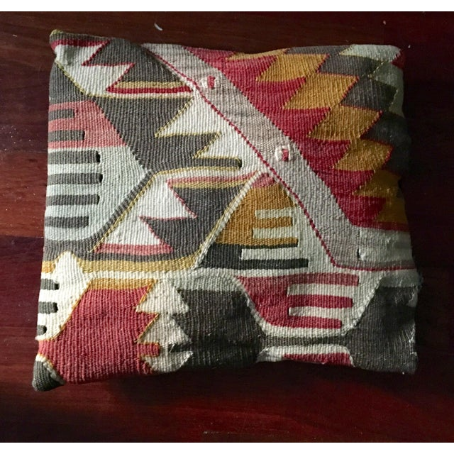 Exotic Antique Tribal Kilim Pillow - Image 2 of 3