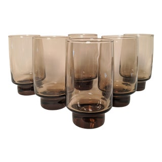 70's Libbey Smoke Brown Tumblers - Set of 8 For Sale