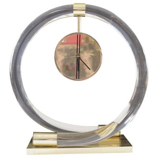 Circular Lucite and Brass Clock by Dorothy Thorpe For Sale