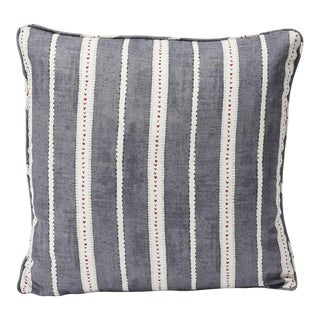 Schumacher Amour Double- Sided Linen Pillow in Charcoal For Sale