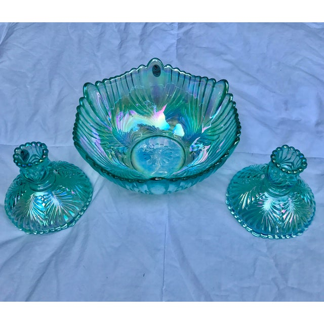 Art Deco Vintage Fenton Aqua Carnival Glass Matching Bowl and Candlesticks Signed - 3 Piece Set For Sale - Image 3 of 11