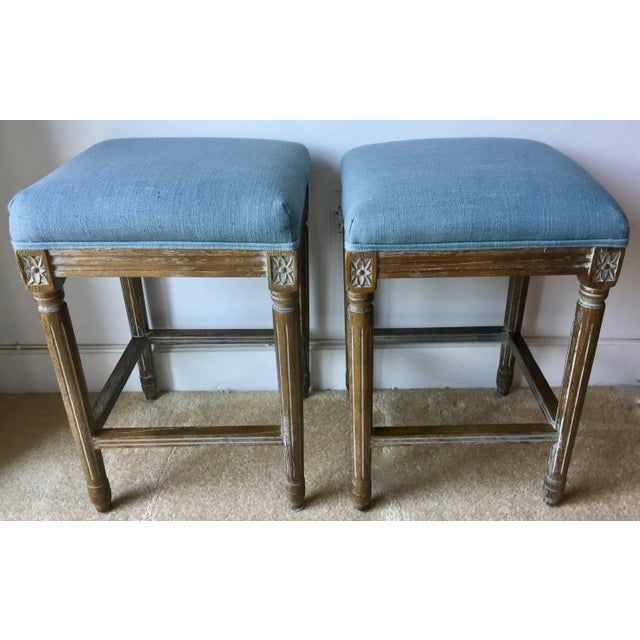 2 Carved French Linen Upholstered Stools For Sale - Image 10 of 10
