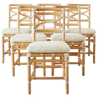 McGuire Set of Six Organic Modern Rattan Dining Chairs For Sale