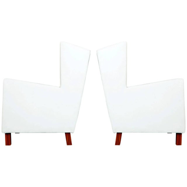 1960s Jacaranda and White Leather Wingback Armchairs, Brazil - a Pair For Sale - Image 10 of 10