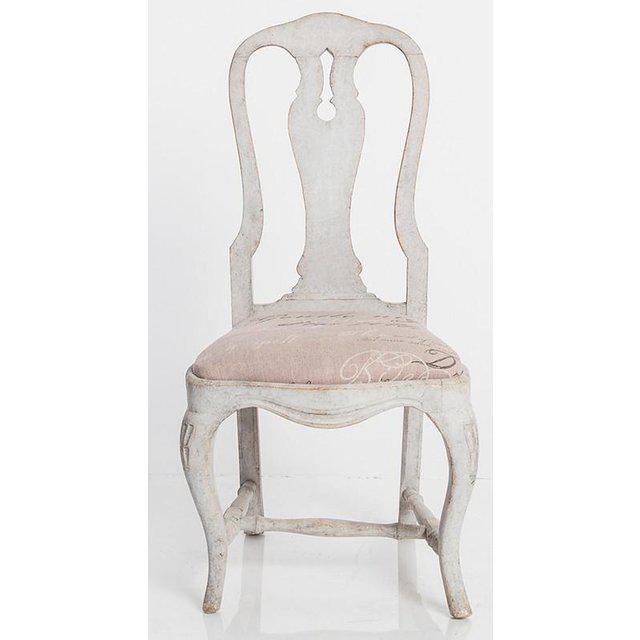 Antique White Swedish Baroque Set of Six Dining Chairs For Sale - Image 4 of 7