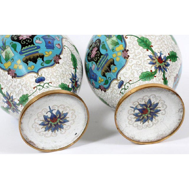 A Lovely Pair of Large Cloisonné Vases in an Unusually Fresh Colored Palette of Cream, Green and Aqua, the Aqua Ground...