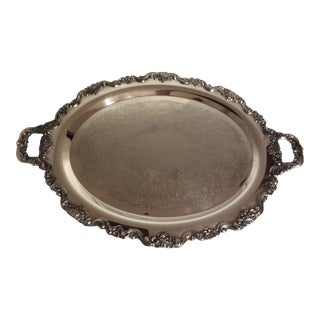 Large Poole Lancaster Rose Silverplate Tray For Sale