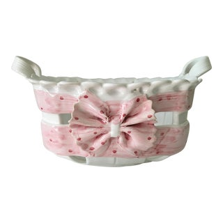 1980s Portuguese Hand Painted Pink Bow Ceramic Basket