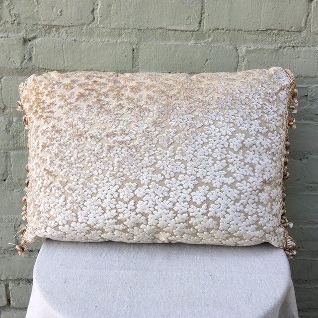 Cream Cut Silk Velvet Pillows - Pair - Image 3 of 6