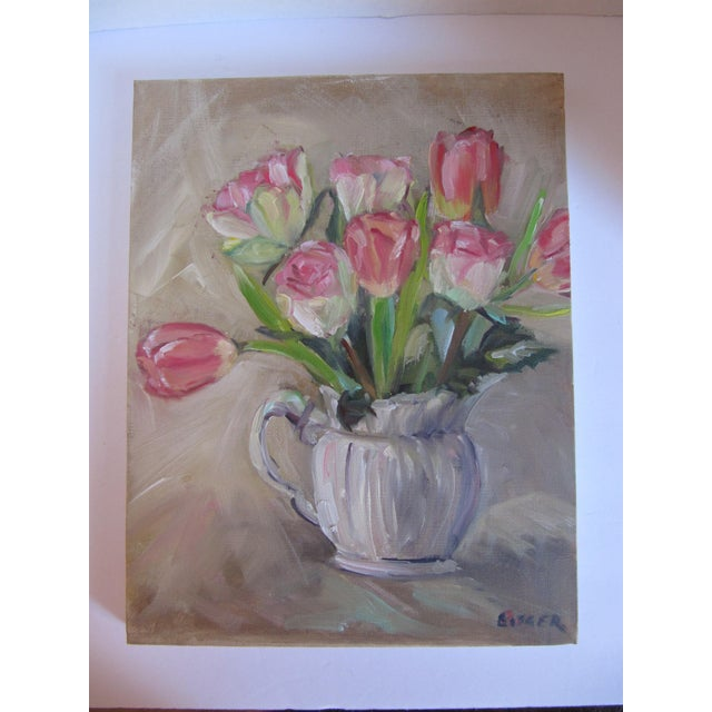 Beautiful acrylic painting of tulips in a pitcher. This impressionist piece would look beautiful on its own or on a...