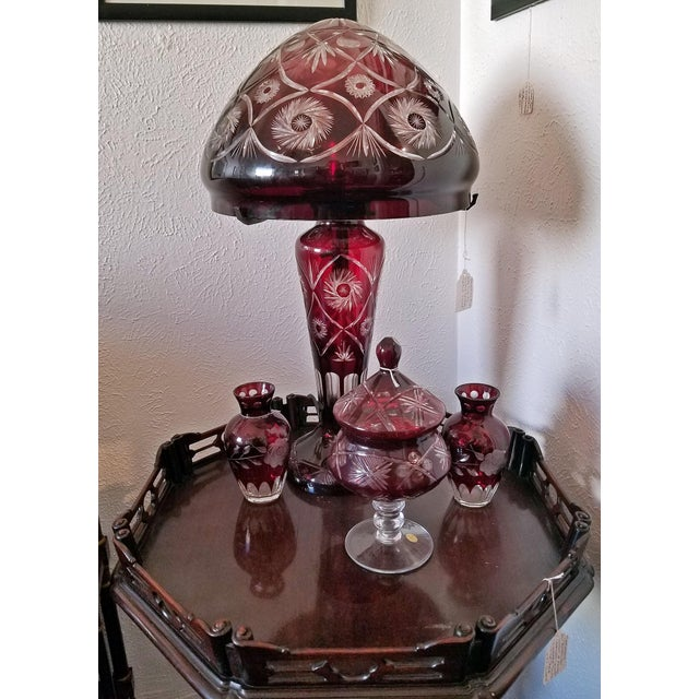 Late 20th Century Bohemian Ruby Red Cut to Clear Crystal Table Lamp For Sale - Image 5 of 7