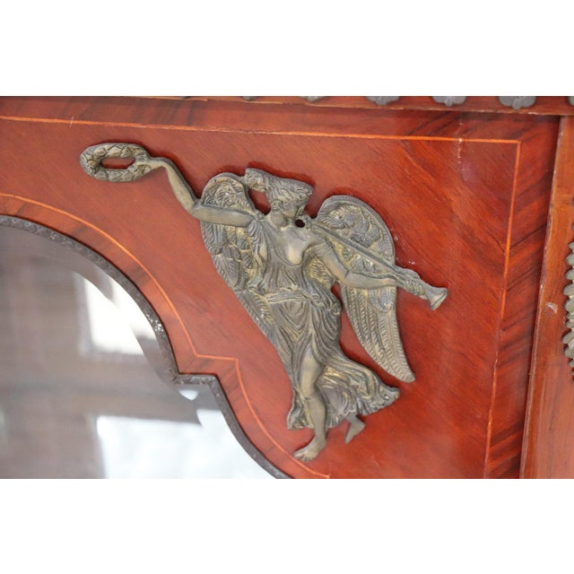 19th Century French Napoleon III Walnut Cabinet or Vetrine With Green Marble Top For Sale - Image 6 of 12