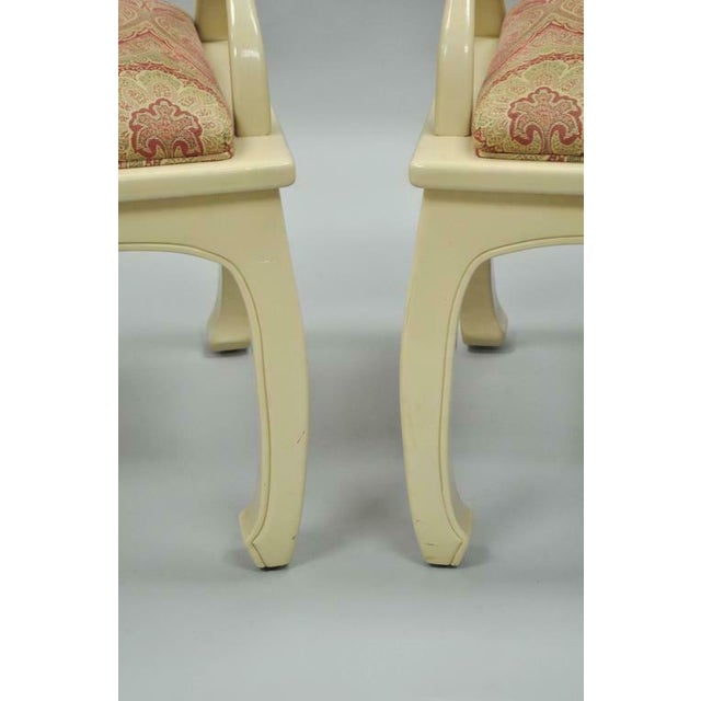 Vintage Cream Lacquered James Mont Style Ming Horseshoe Lounge Chairs - A Pair For Sale In Philadelphia - Image 6 of 10