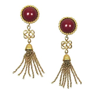 1980s Vintage Monet Tassel Earrings For Sale