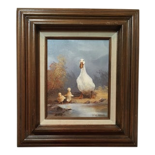 1980s Goose and Goslings in Pastoral Landscape Framed Painting For Sale