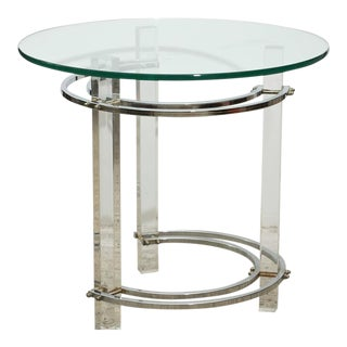 Pair of Round Chrome and Glass Charles Hollis Jones End Tables, Usa, 1970s For Sale
