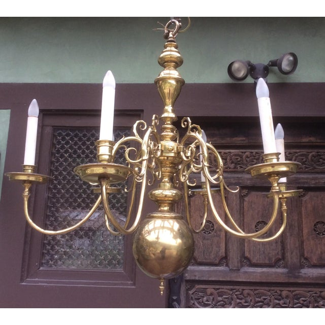 Large Dutch Style Brass Chandelier For Sale - Image 9 of 11