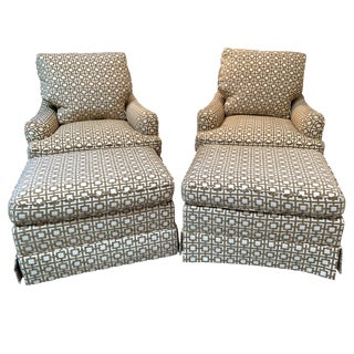 Baker Simmons Swivel Chairs & Ottomans-A Pair For Sale