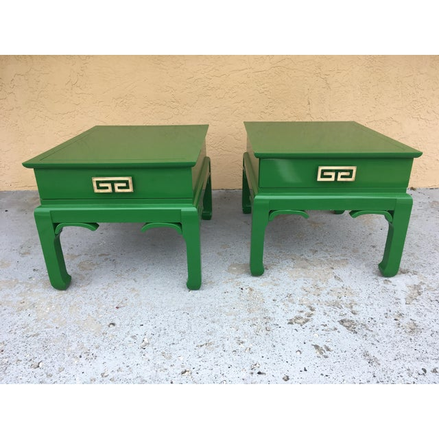 Green 1960s Asian High Gloss Green Side Tables - a Pair For Sale - Image 8 of 8