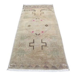 Vintage Turkish Oushak Carpet -1′7″ × 3′2″