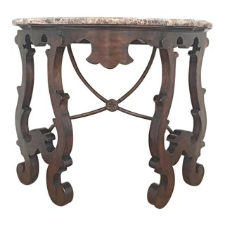 Traditional Style Walnut Console With Marble Top For Sale