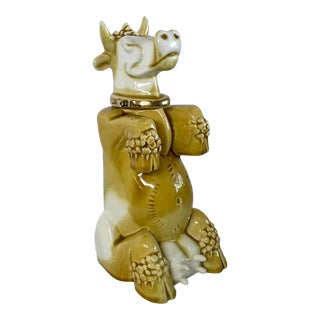 Mid 20th Century Figurative, French Gold Ceramic Franor Royale Cow Decanter For Sale