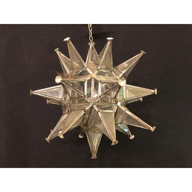 Pair of Sputnik Star Light Fixtures Lead Glass Art Deco Style Not Wired For Sale - Image 4 of 13