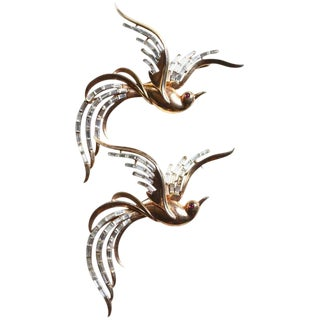 50s Sterling Trifari Bird of Paradise Brooches For Sale