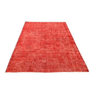 Large Red Hand Knotted Solid Rug For Sale