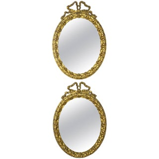 Antique 19th Century Italian Giltwood Vanity Mirrors, Set of Two For Sale