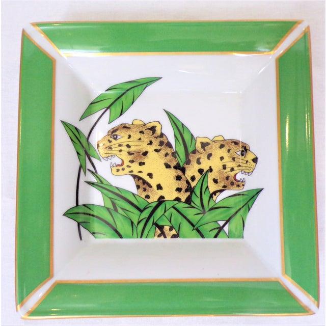 Art Deco Vintage Philippe Deshoulieres Limoges Leopard Porcelain Trinket Tray / Catchall For Sale - Image 3 of 10