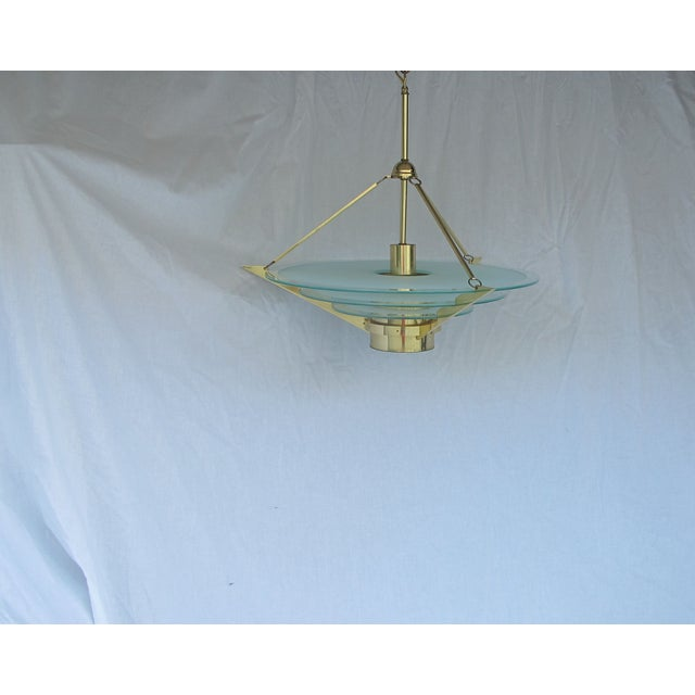 Art Deco Revival Tiered Brass & Glass Chandelier - Image 5 of 5