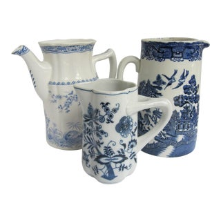 Vintage Blue & White Chinoiserie Pitchers- 3 Pieces - Set of 3 For Sale