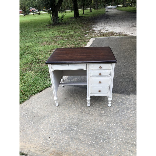 """Vintage mahogany desk painted in """"sawmill Gravy"""". One pencil drawer and 3 side drawers with divider and organizer tray...."""
