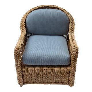 Vintage Mid Century Wicker Armchair For Sale