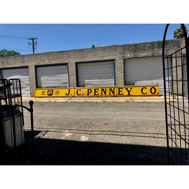 1940s 1920s Antique j.c. Penney Co. 3-Panel Baked Enamel Metal Sign For Sale - Image 5 of 10
