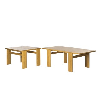 20th Century Scandinavian Oak Coffee and Side Table - 2 Pieces For Sale