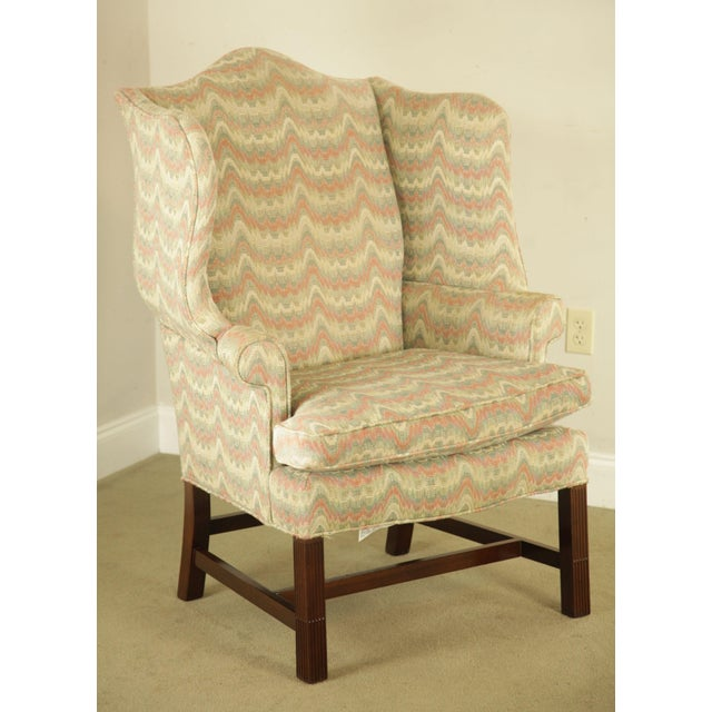 1980s Carr & Company Chippendale Style Mahogany Wing Chair with Ottoman For Sale - Image 5 of 12