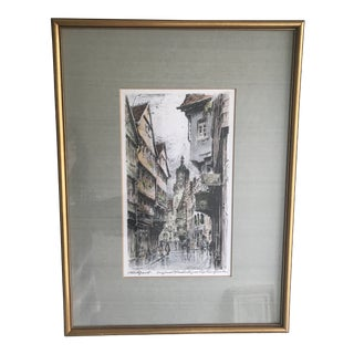 20th Century Signed Original Colored Etching of Stuttgart Street Scene by German Artist Paul Geissler - 1919 For Sale