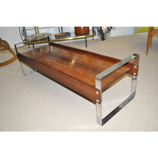 Vintage 1970's Rosewood & Chrome Coffee Table - Image 4 of 4