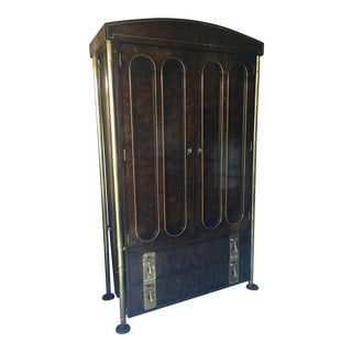 1970s Modern Mastercraft Elegant Burled Amboyna and Brass Tall Cabinet For Sale