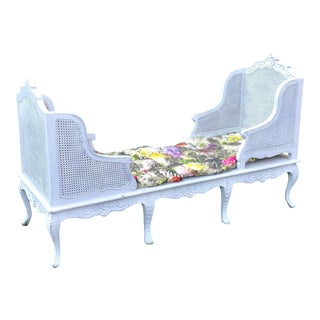 1900s Antique White Caned Chaise For Sale