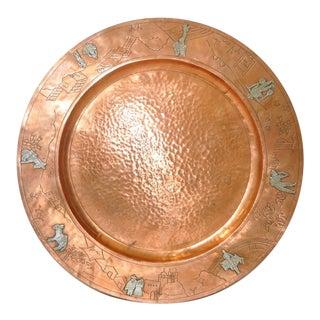 Mid Century Modern Copper Platter W/ Sterling Figures Surround C.1950s