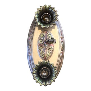 Art Deco Polychrome Flush Mount Light Fixture For Sale