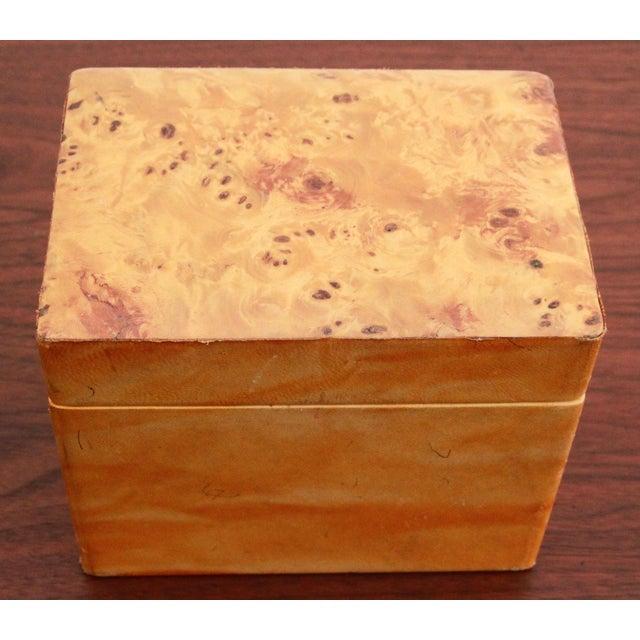 Italian Vintage Leather & Burlwood Trinket Box For Sale - Image 3 of 7