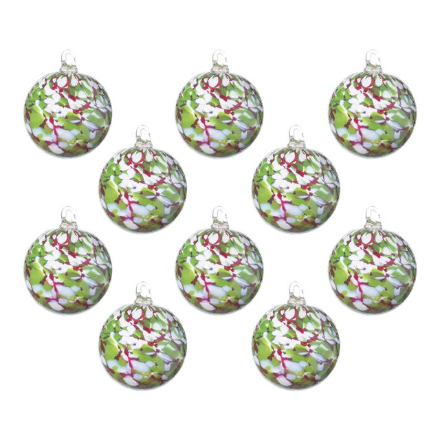 Hand Blown Glass Ornaments, Holiday - Set of 10 For Sale
