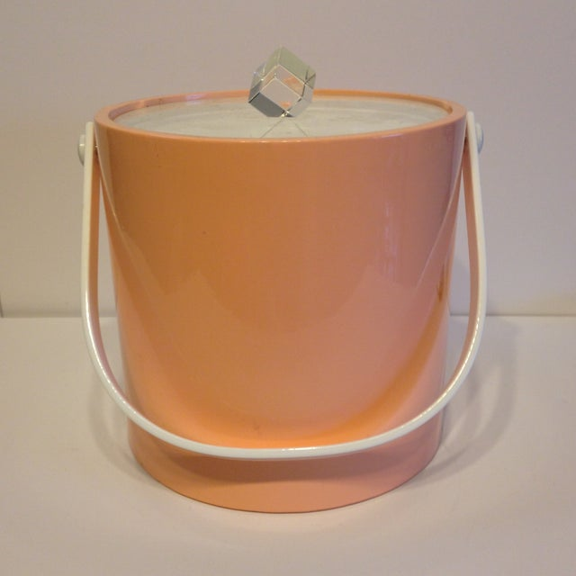 Peach And Lucite Ice Bucket - Image 2 of 5